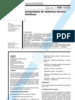NBR 10719 - Apresentação de relatórios técnico-científicos