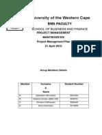 Project Management Plan CAPESKATE Salesian Skate Park Cape Town