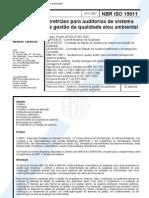 NBR ISO 19011 - Diretrizes para auditorias de sistema de gestão da qualidade eou ambiental