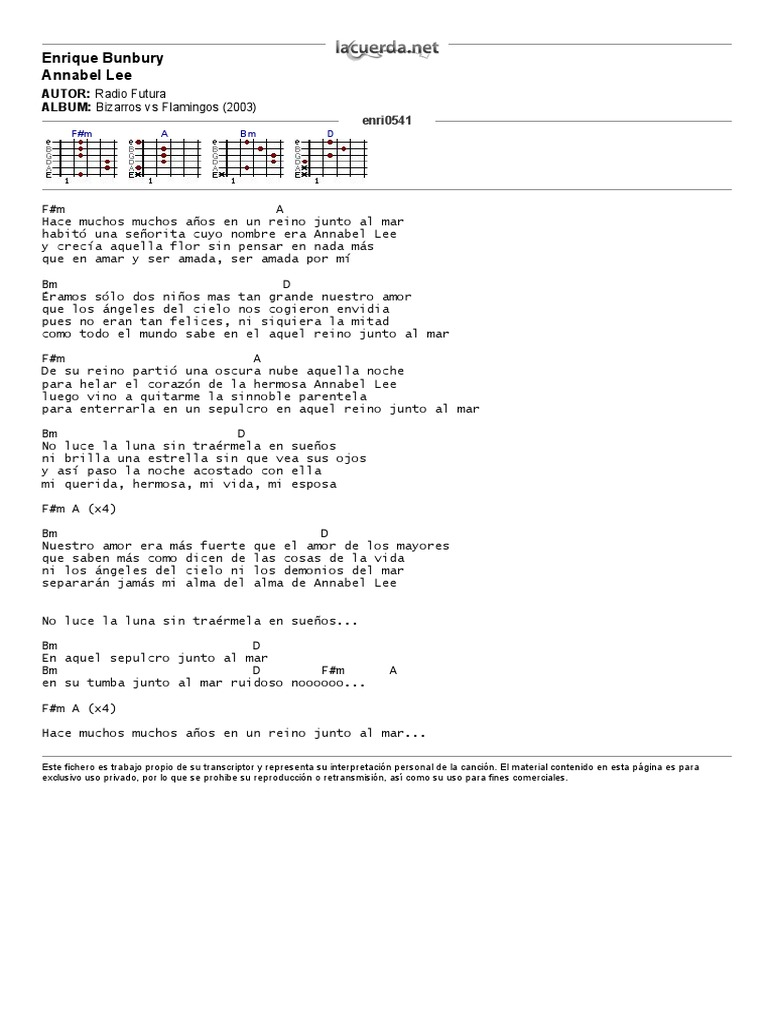 Enrique Bunbury, Annabel Lee   Letra y Acordes   PDF
