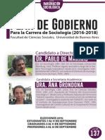 Carrera de Sociología - Plan de Gobierno (2016-2018)