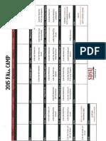 2015 Fall Camp Schedule