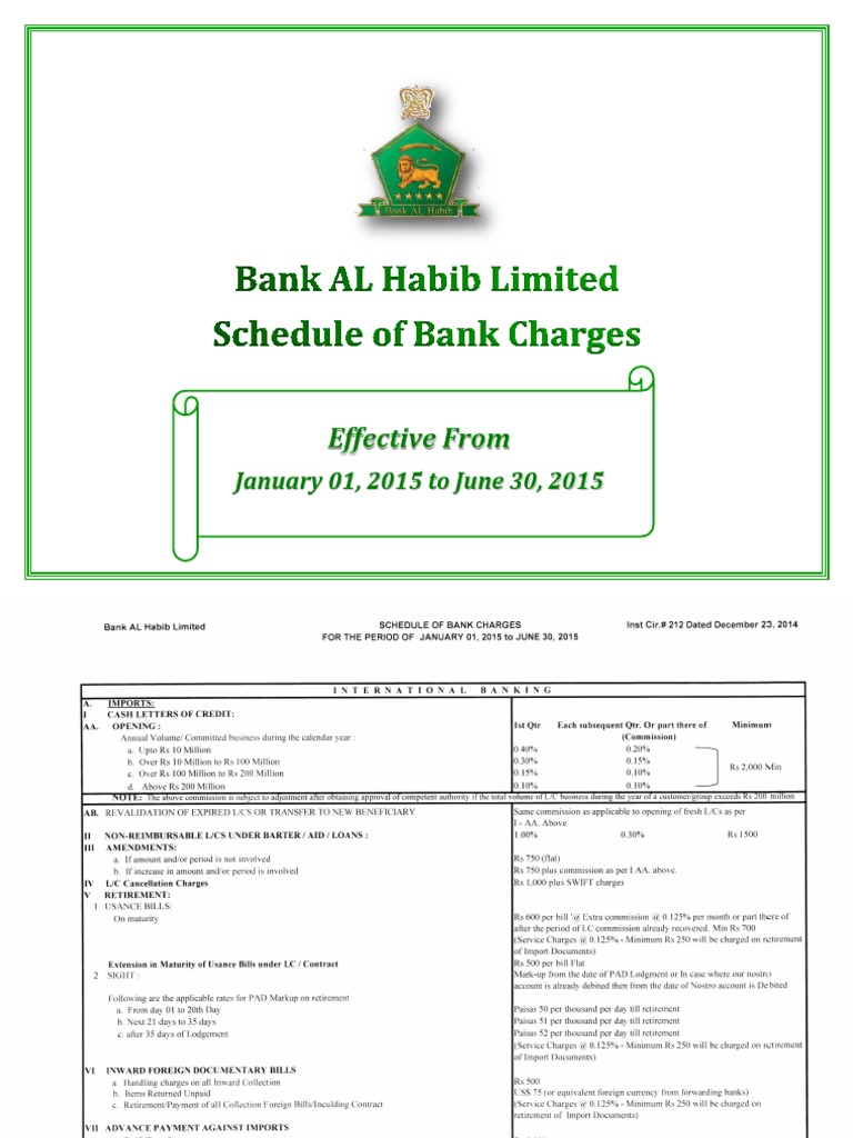 Bank Al Habib Cheque Book Charges