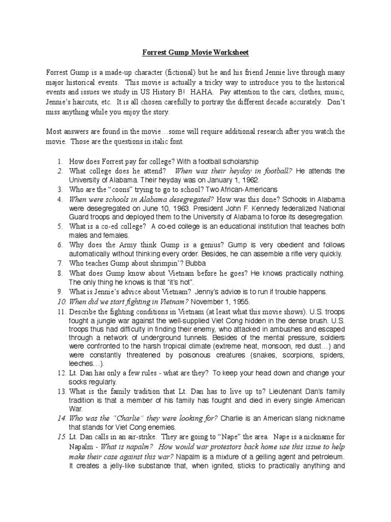 Forrest Gump Worksheet