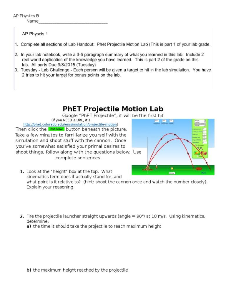 ap physics phet projectile lab   Trajectory   Drag (Physics)