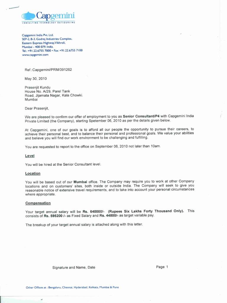 Capgemini Offer Letter Pdf