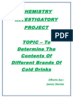 Analysis of contents of cold drinks