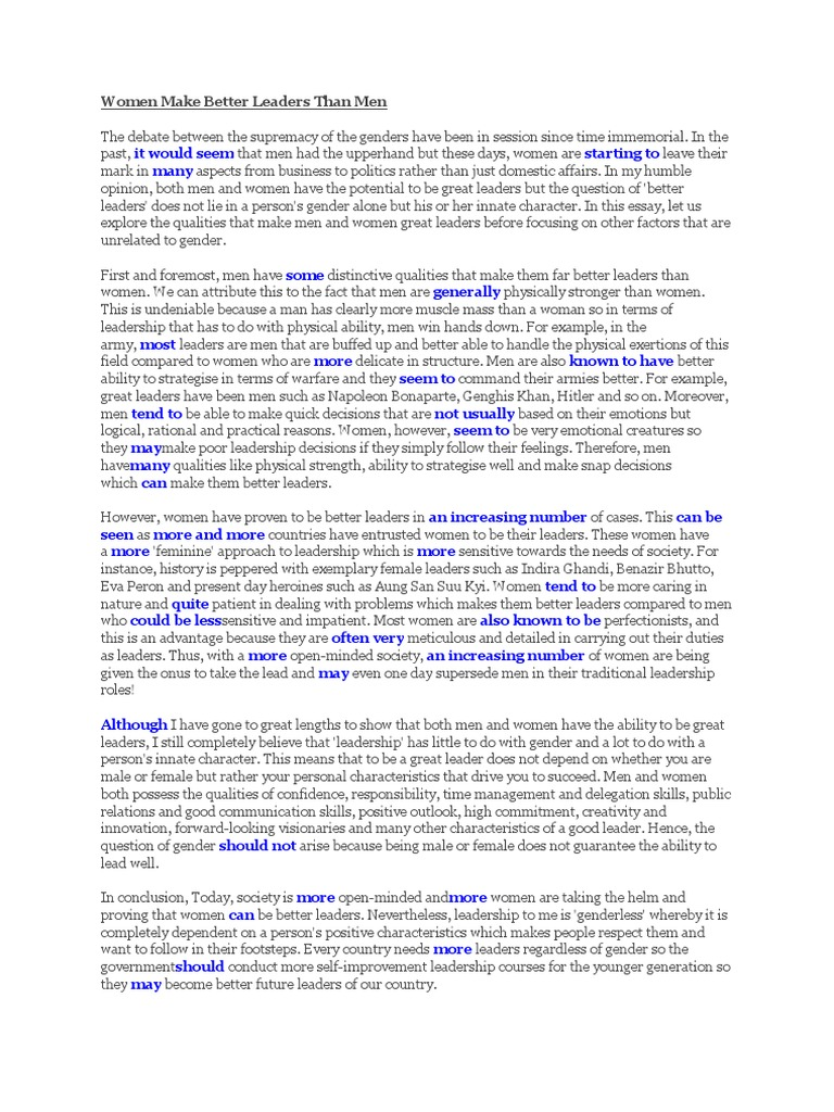 Woman leader better than man essay