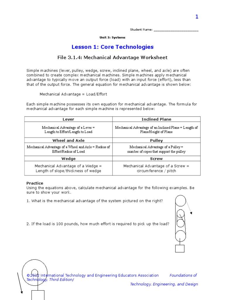 3 1 4 b mechanical advantage worksheet | Machines | Physics ...