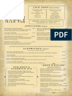 Tigin Irish Pub Stamford Main Menu