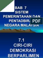 BAB 7 Sistem Pemerintahan Dan Pentadbiran Negara Malaysia