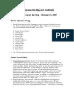 ECI School Council Minutes | Oct 2007