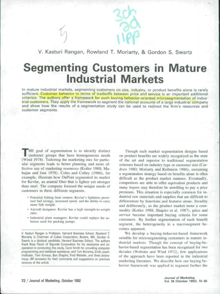 Mature industrial markets