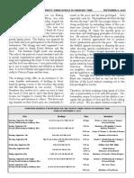 Bulletin for September 6, 2015