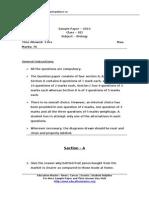 CBSE Sample Paper Biology Class XII 2010