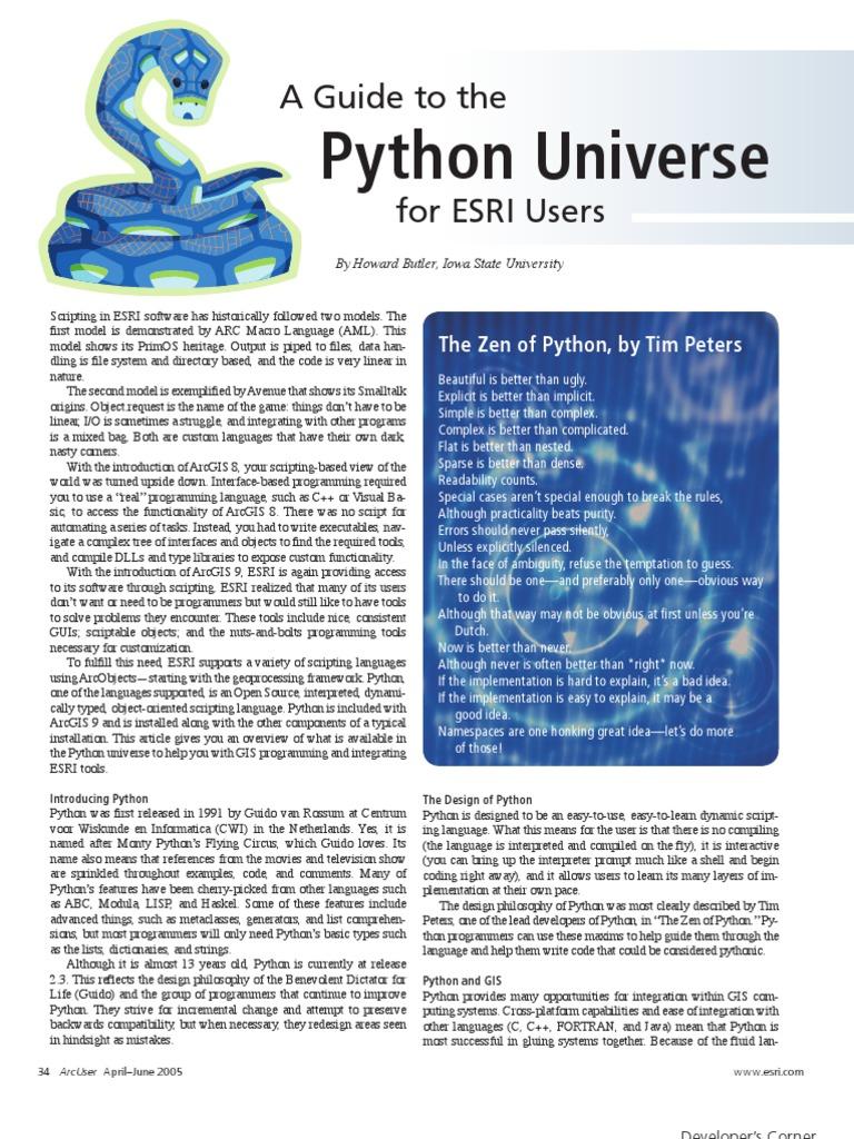 A Guide to The | Python (Programming Language) | Arc Gis