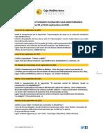 Agenda de Actividades Destacadas del 3 al 30 de septiembre de 2015