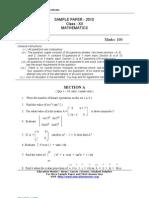 Cbse Sample Paper Class Xii Maths 2010