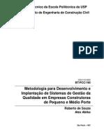 Metodologia para Desenvolvimento e Implantação de Sistemas de Gestão da Qualidade etc