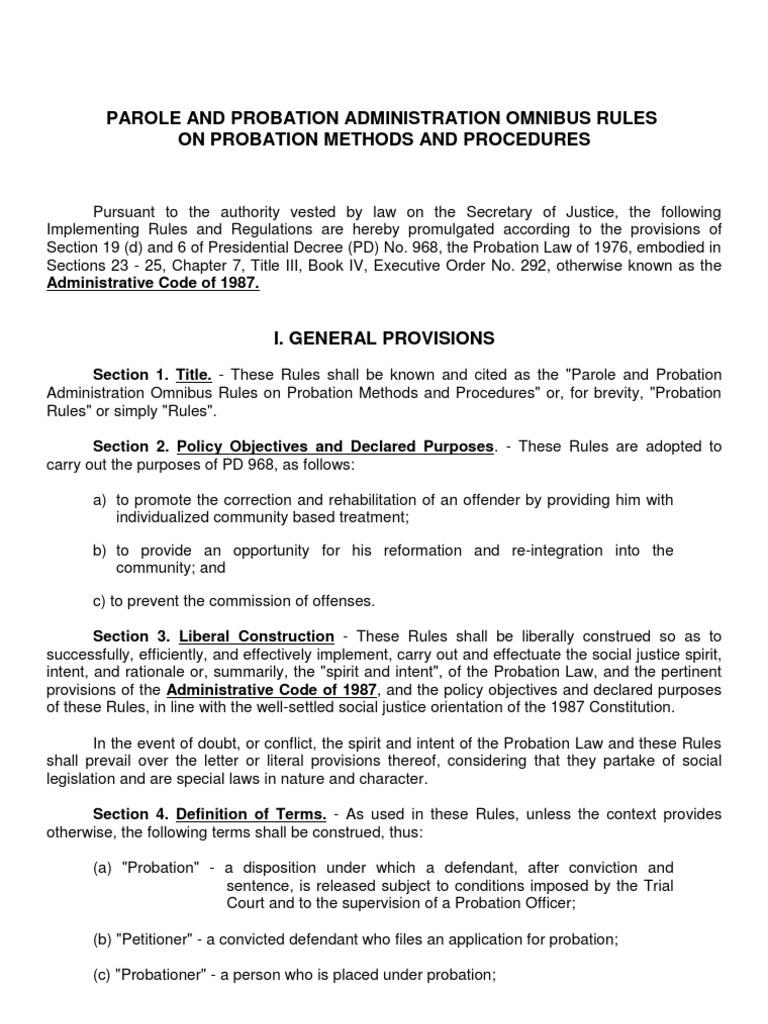 omnibus rules on probation probation probation officer