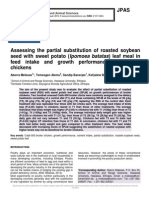 Assessing the partial substitution of roasted soybean seed with sweet potato (Ipomoea batatas) leaf meal in feed intake and growth performances of broiler chickens
