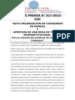 NOTA DE PRENSA N° 017 [inseguridad PROPUESTA]