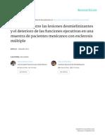 Correlación entre las lesiones desmielinizantes y el deterioro de las funciones ejecutivas en una muestra de pacientes mexicanos con esclerosis múltiple