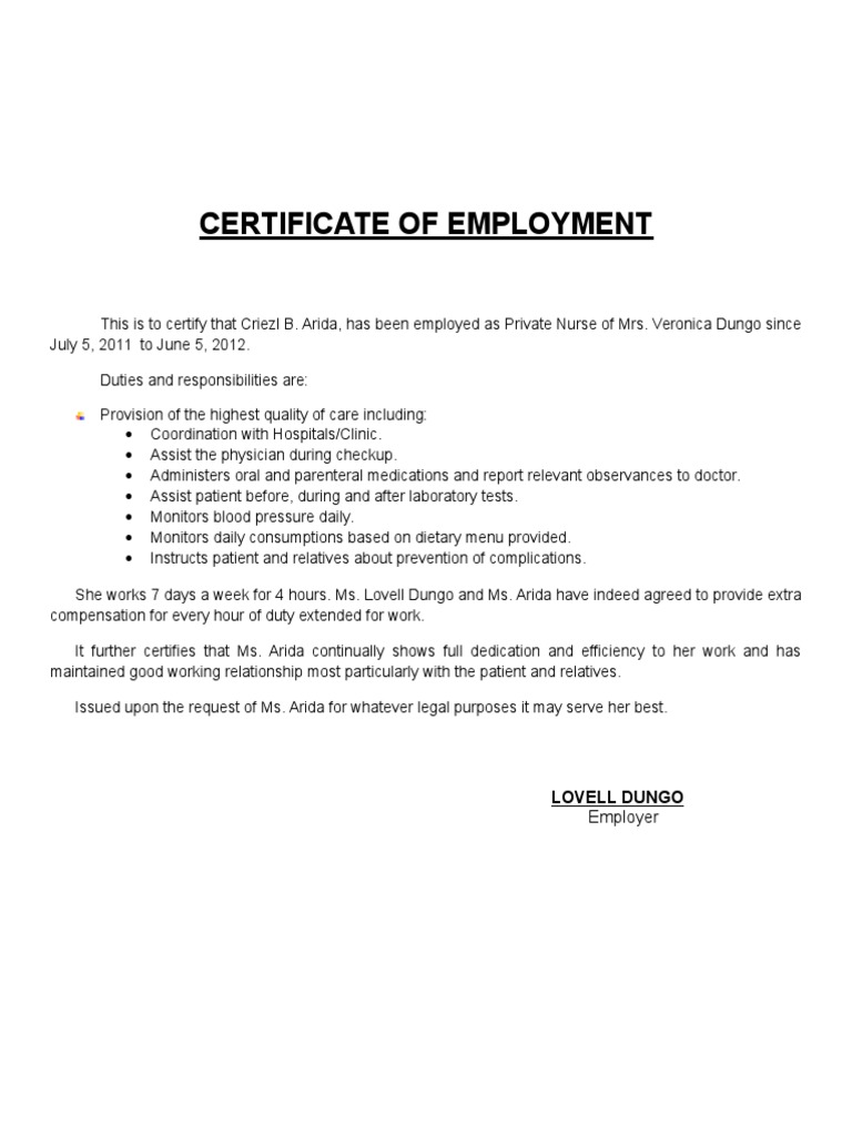 Certificate of employment private nurse yadclub Image collections