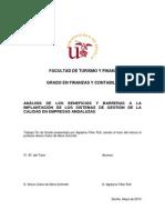 Análisis de los beneficios y barreras a la implantación de los sistemas de gestión de la calidad en empresas andaluzas