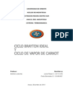 Ciclo de Potencia de Gas Brayton Ideal, Ciclo de Potencia de Vapor Carnot