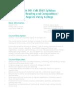 english 101 fall 2015 syllabus lavc