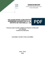 2010 Cuba Relación Entre Clima Institucional y Desempeño Docente en La IE 4021 Del Distrito de Ventanilla Callao