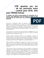 La FELGTB Apuesta Por Los Derechos de Las Personas Trans Como Eje Central Para 2010