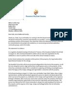 Pasadena Waldorf School's letter to Yuge Family