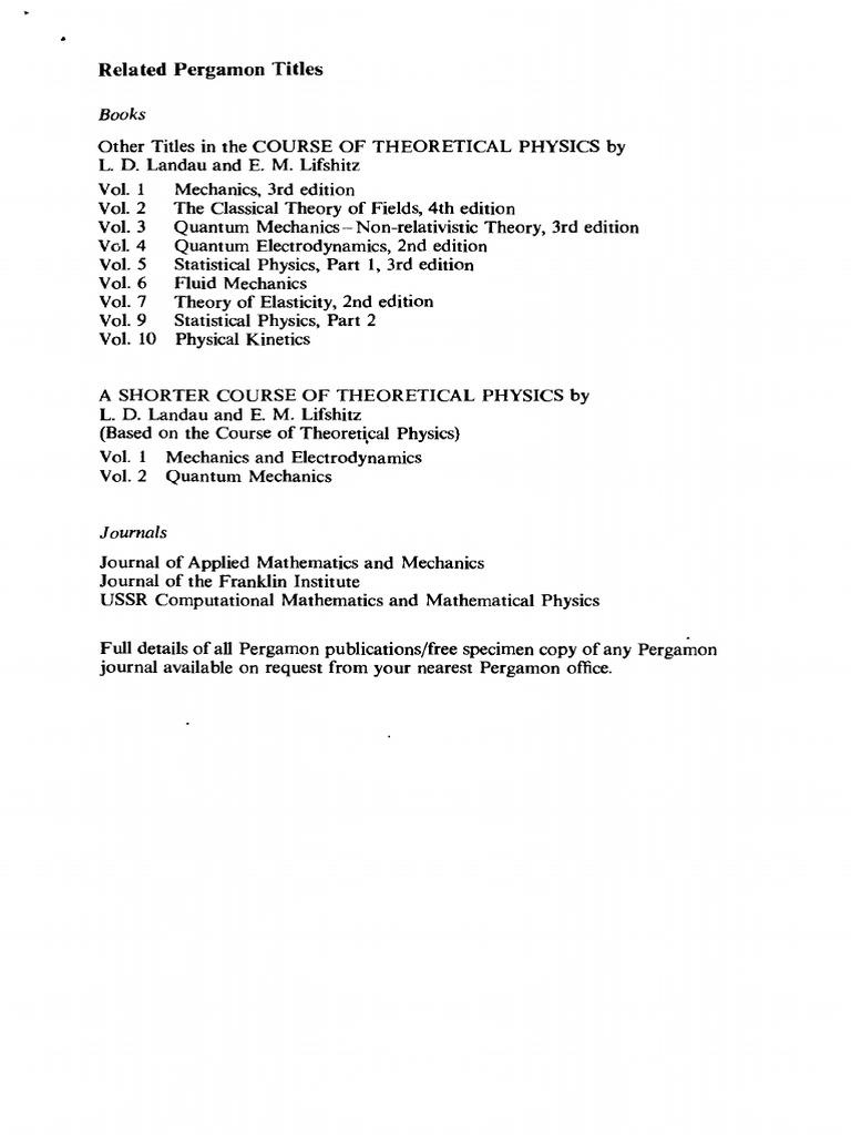 mechanics volume 1 course of theoretical physics