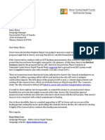 Letter to Conservative Party on Surrey LRT funding announcement