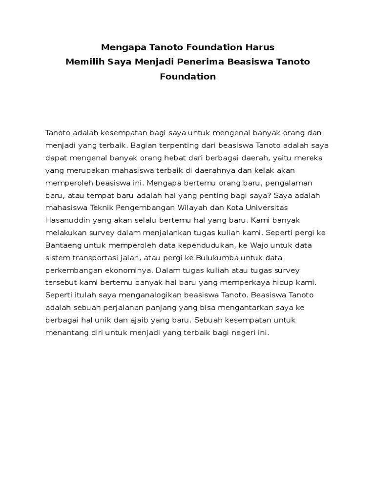 contoh essay untuk beasiswa tanoto foundation