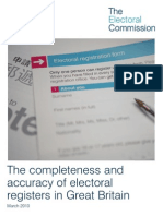 Electoral Commission Report on Electoral Registration