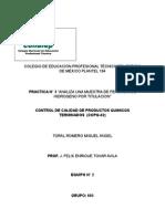 """ANALISIS DE UNA MUESTRA DE PEROXIDO DE HIDROGENO POR TITULACION"""""""