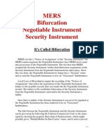 MERS Bifurcation Negotiable Instrument Security Instrument