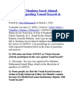 Interview of Maulana Saeed Ahmad Jalalpuri Regarding Yousuf Kazzab & Zaid Hamid