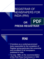 Registrar of Newspapers for India (Rni)