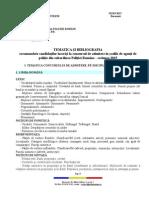 Tematica Si Bibliografie Admitere 2015