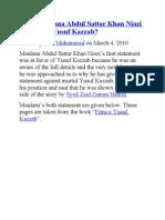 What Maulana Abdul Sattar Khan Niazi Said About Yusuf