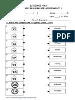 Standard 2 - March 2015 KSSR English Exam  Paper