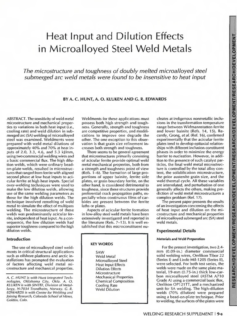 Heat Input and Dilution Effects in Microalloyed Steel Weld Metals ...