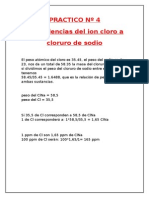 Equivalencias Del Ion Cloro a Cloruro de Sodio