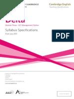 Delta Module Three ELT Management Option Syllabus Specifications 2011 1