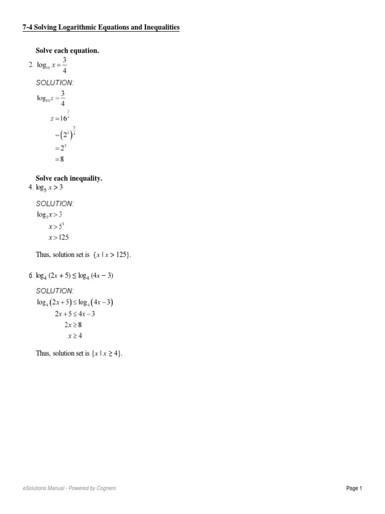 7-4 Solving Logarithmic Equations and Inequalities2 | Earthquakes ...
