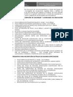 REQUISITOS PARA LA INSCRIPCIÓN DE TÍTULOS PEDAGÓGICOS DE PROFESIONALES DE LA EDUCACIÓN DE LIMA METROPOLITANA.